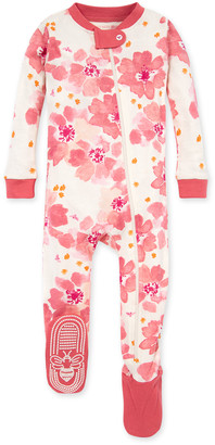 Burt's Bees Sprinkling Petals Organic Baby Zip Front Snug Fit Footed Pajamas