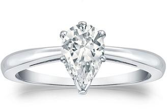 Auriya 14k Gold 1ctw Pear Shape Solitaire Diamond Engagement Ring