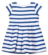 Absorba Blue Glitter and White Stripe Dress with Bow Back Detail