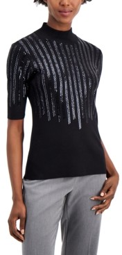 Alfani Sequined Elbow-Sleeve Sweater, Created for Macy's