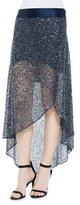 Haute Hippie Sequin-Embellished Mesh Skirt, Midnight