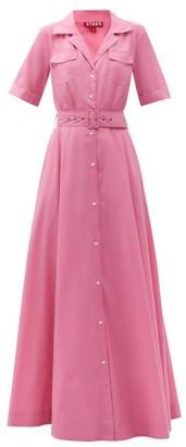 STAUD Millie Recycled-poplin Maxi Shirt Dress - Pink