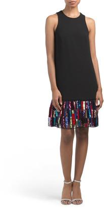 Sequin Velvet Trim Dress