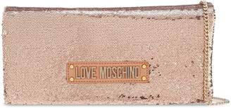 Love Moschino Sequined Logo-embellished Faux Leather Clutch
