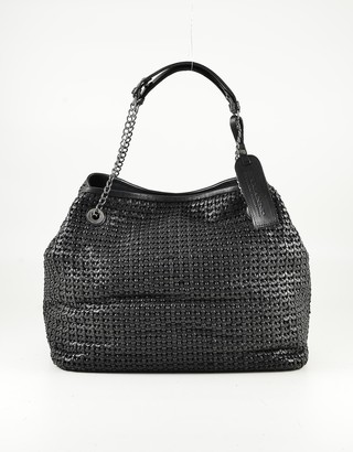 Ermanno Scervino Black Woven Leather Tote Bag