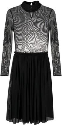 John Richmond Long-Sleeve Sheer Dress