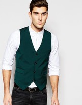 Asos Slim Waistcoat With Stretch In Green