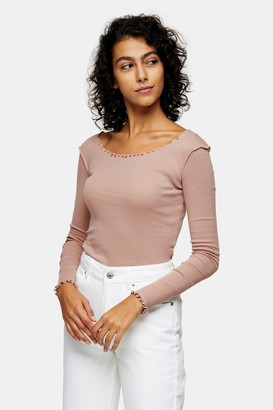Topshop Womens Taupe Long Sleeve Lettuce Top - Taupe