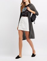 Charlotte Russe Hooded Open Front Cardigan