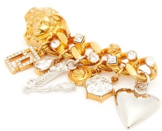 Versace Charm-embellished Medusa Head Brooch - Womens - Gold