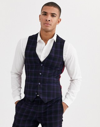 Harry Brown skinny fit stretch navy check suit vest