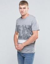 Jack and Jones Crew Neck T-shirt with Floral Print Panel