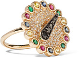 Alison Lou Hasbro Spinner 14-karat Gold Multi-stone Ring - 6