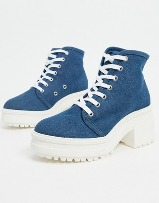 ASOS DESIGN Reflect heeled canvas boots in blue denim