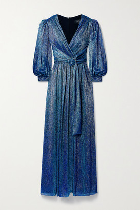 PatBO Crystal-embellished Gathered Metallic Lame Gown - Blue