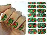 Set of 5 Water Transfer Nail Art Stickers Decal 3D Green Full Wraps Cute Red Strawberry Design DIY