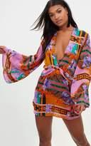 PrettyLittleThing Blue Scarf Print Kimono Sleeve Plunge Shift Dress