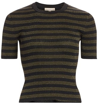 Michael Kors Striped Lurex Rib-Knit Cropped Tee