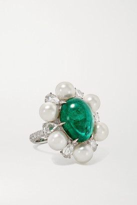 Amrapali 18-karat White Gold, Pearl, Emerald And Diamond Ring - 6