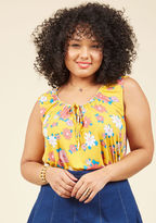 Mct1190 Every time you rock this bright yellow top, your playful personality will be repped by your style! Pink, coral, blue, and white retro flowers pattern this easy knit from our ModCloth namesake label, while a gathered neckline and a tied front keyhole add a