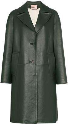 Plan C Notch lapel leather coat