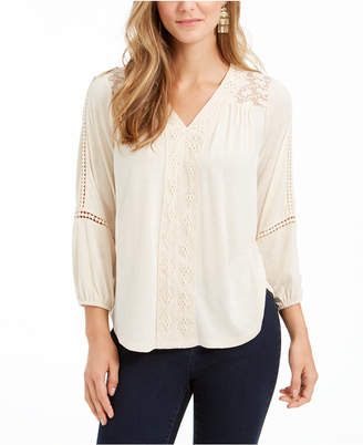 Style&Co. Style & Co Lace-Back Crochet Top