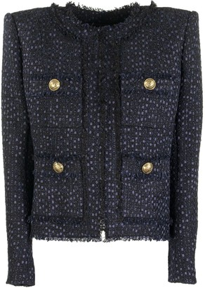Balmain Blue Tweed Jacket With Gold-tone Buttons