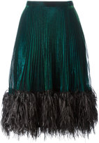 Marco De Vincenzo feather trim pleated skirt - women - Polyester/Metallized Polyamide - 40