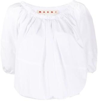 Marni Half-Sleeve Cropped Blouse