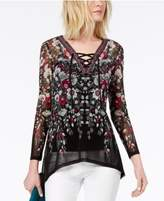 INC International Concepts I.N.C. Lace-Up Tunic, Created for Macy's
