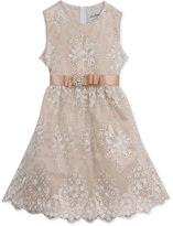 Rare Editions Champagne Embroidered Mesh Dress, Big Girls (7-16)