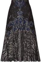 Jonathan Simkhai Metallic Tulle-trimmed Lace Skirt - Black