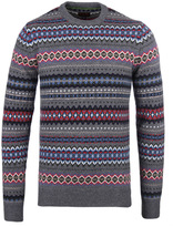 Barbour Storm Grey Caistown Fairisle Crew Neck Sweater