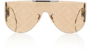 Fendi Logo-Lens D-Frame Metal Sunglasses