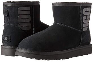 UGG Classic Mini Rubber Logo (Black) Women's Cold Weather Boots