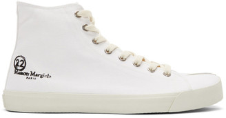Maison Margiela White Canvas Tabi High-Top Sneakers