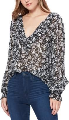 Paige Robin Floral Silk Peasant Blouse