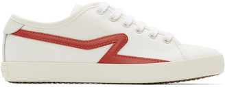 Rag & Bone White and Red Canvas Court Sneakers