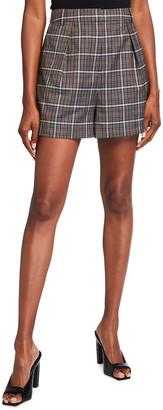 Tibi Gabe Windowpane Check Menswear Suiting Pleated Shorts