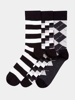 Burton Burton 3 Pack Happy Socks Monochrome Pattern Mix Socks