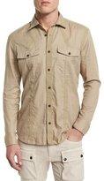 Belstaff Sinclair Taped-Trim Sport Shirt, Pale Stone