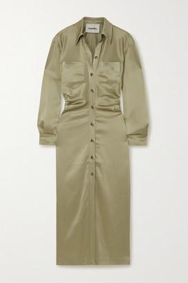 Nanushka Kinsley Ruched Satin Shirt Dress - Sage green