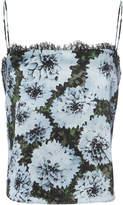 Fleur Du Mal Lace Trim Blue Floral Cami