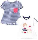 Mayoral Pack of 2 Girl Print and Stripe Tees