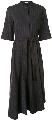 Brunello Cucinelli Pinstripe Asymmetric Midi Dress