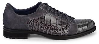 Mezlan Olsen Suede Crocodile Leather Derby Shoes