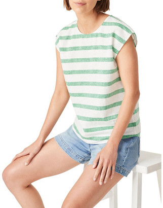 French Connection Linen Stripe Shell Top Green