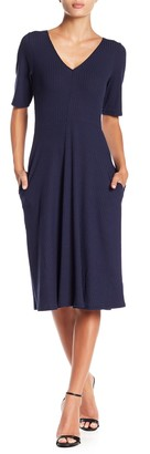 Socialite V-Neck Elbow Sleeve Midi Dress