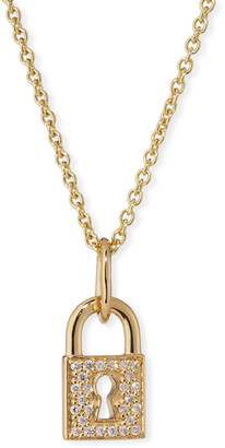 Sydney Evan 14k Diamond Keyhole Lock Charm Necklace