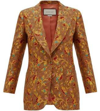 Gucci Floral And Gg Single-breasted Blazer - Womens - Beige Multi